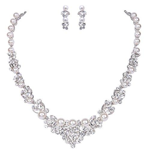 ever-faith-knstlich-perl-kristall-elegant-halskette-ohrring-schmuck-set-ivory-farbe-silber-ton-n0047