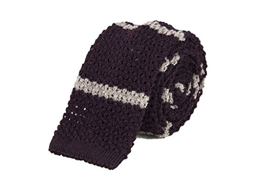 40 Colori - Cravatta a maglia Jacquard a righe in pura lana, Mirtillo-Castoro,