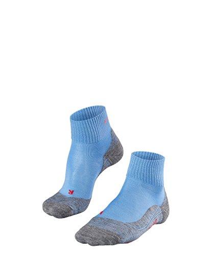 FALKE TK5 Short Damen knöchel-high Trekkingsocken / kurze Wandersocken - blau, Gr. 37-38, 1 Paar, leichte Polsterung, Merinowolle -