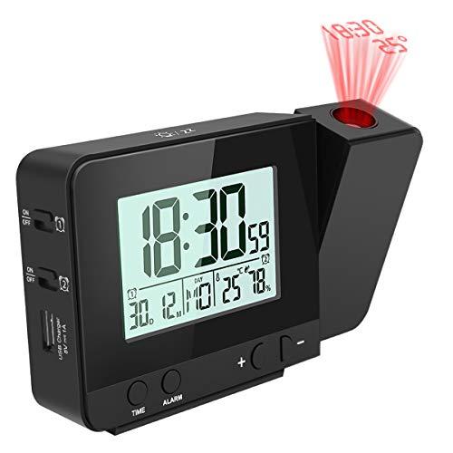 E-More Reloj Despertador Digital Despertador Proyector con Temperatura 4 Brillo de Proyección Ajustable...