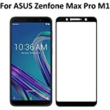 AA19 Premium Edge to Edge - Full Glue, No Rainbow, Full Front Body Cover Tempered Full Glass Screen Protector Guard for Asus Zenfone Max Pro M1 - Black