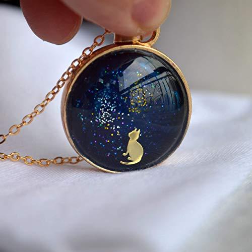 nen Sternenklarer Himmel Süß Muschi Tier Glas Schwimmende Locket 18K Vergoldet Lange Kette Halskette ()