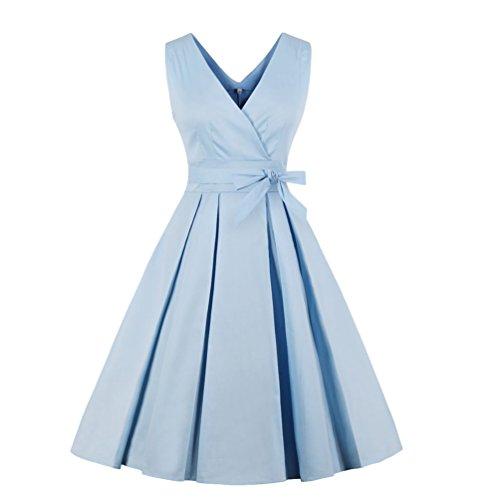 Jitong Elegante A-Linea Vestito retrò Donna a Pieghe Collo a V Abito da Sera Tinta Unita Swing Vestiti da Cerimonia (Azzurro, Asia 2XL)