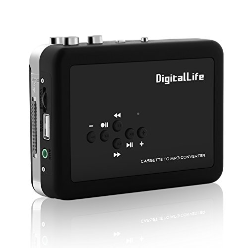 DigitalLife USB Cassette Tape Player to MP3 Converter into USB Flash Drive (Not Include) - Cassette Tape Converter to MP3 CD PC Mac Converter Audio Music Player