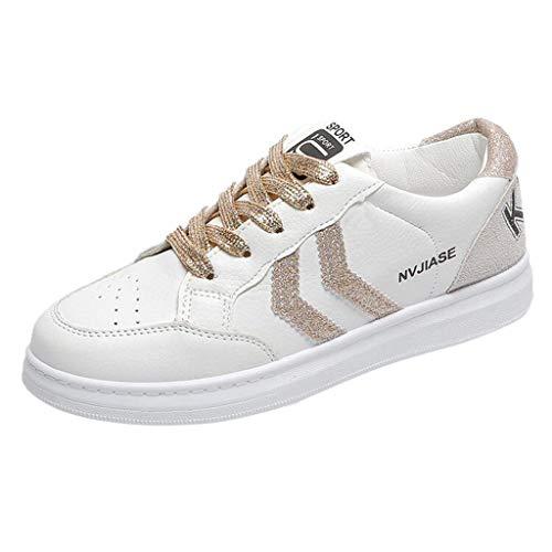 Scarpe Bianche Piccole Sneaker Donna, Scarpe Zeppe Donna Sneakers Eleganti, Scarpe Casual Piatto Traspirante - Zarupeng Donna Scarpe Fitness Dimagranti Outdoor Sportive(Oro,38 EU)