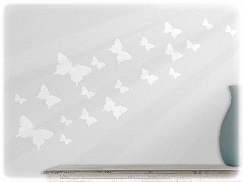 wandfabrik - Wandtattoo - 20 schöne Schmetterlinge (Set2) in weiß