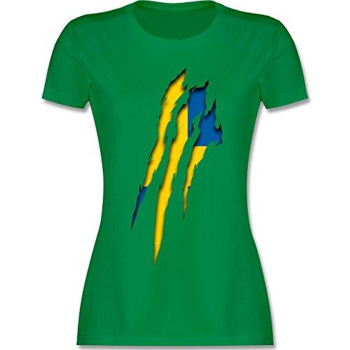 Shirtracer Länder - Schweden Krallenspuren - Damen T-Shirt Rundhals Grün