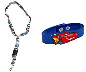 Joy Toy 61142/61148 Disney Cars 2 - Cinta llavero con hebilla rápida y pulsera de goma con diseño de Rayo McQueen