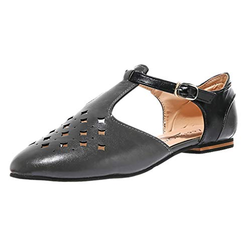 Strungten Frauen-Weinlese-beiläufiges T-Bügelsandelholz klobige hohe Absätze Kontrast Pumpen Schuhe durch Lowprofile römische Durchbrochene Wohnungen -