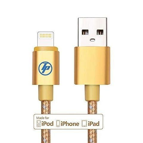 technoplay LTD® 8Pin Premium, Nylon geflochtenen gratis USB Datenkabel Sync + Ladekabel (Aluminium Stecker) mit Lightning-Anschluss kompatibel mit ios8.1iPhone 5/5S/5C/6/6Plus/iPod Touch 5. Generation/iPod nano 7. Generation/iPad mini/mini 2/Mini 3, iPad 4./iPad Air–Extra Starker (10.000Ladezyklen) * * * BEST kaufen * * *