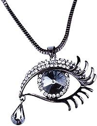 FAMILIZO Collar Enlace Forma Cristalina De La Piedra Preciosa Oval De La LáGrima De Los Ojos Del Grano De La Cadena Colgante Del DiseñO