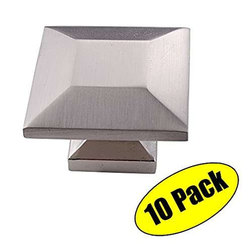 KES Cabinet Hardware Square Knob Pull Round Brushed Nickel 1-1/4