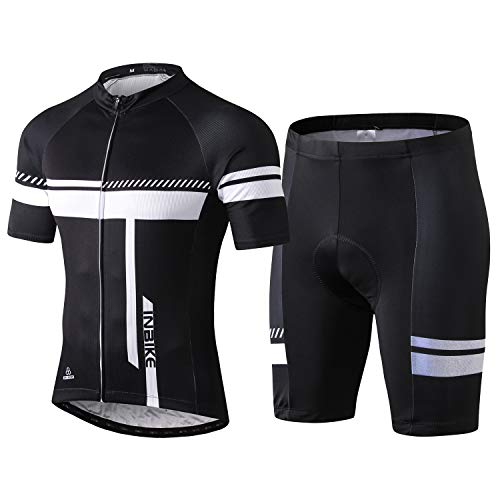 INBIKE Fahrradtrikot Herren Kurzarm Damen Fahrradbekleidung Männer Set Kurz Fahrrad Trikot und Radlerhose mit Sitzpolster(Weiß, L)