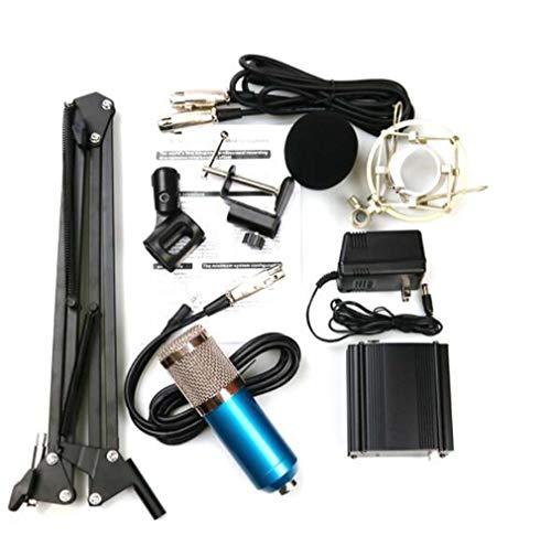 CE-LXYYD Portable Home Recording Handy Computer Podcast-Netzwerk Karaoke-Profi-Kondensatormikrofon mit Kabel, mit Auslegerhalterung, Schockbefestigung, 48-V-Netzteil, 3,5-polig,Blue