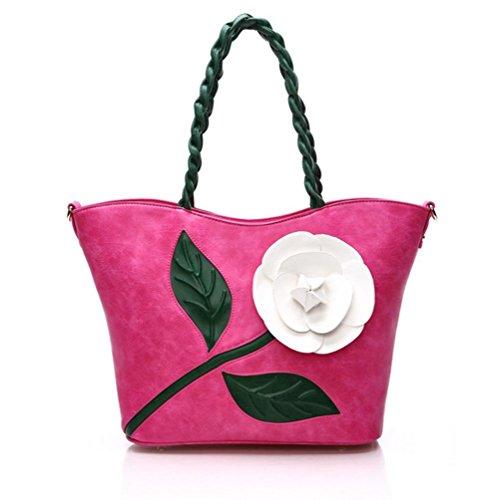 GBT Gewebte Handtasche Schultertasche rose red