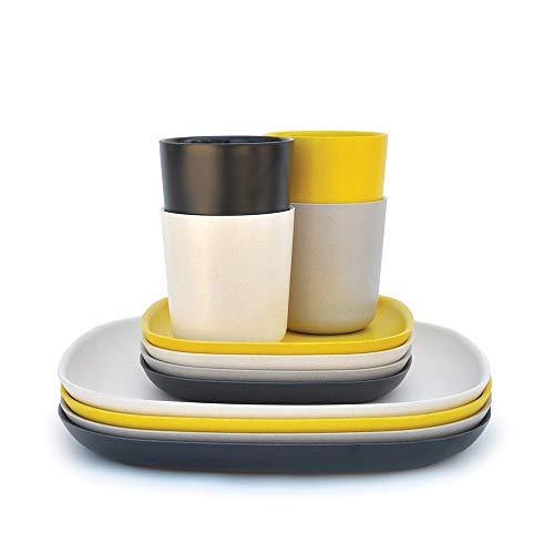 BIOBU by EKOBO 34314 Set de Vaisselle n°1 Noir/Gris/Blanc/Jaune Citron