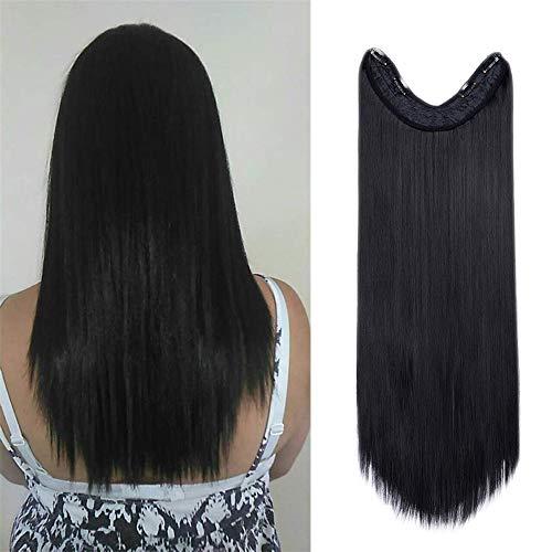 Sego - extension clip capelli neri lisci lunghi ultra morbidi 65cm fascia unica con 4 clip sintetici straight u part extensions 3/4 full head - nero scuro
