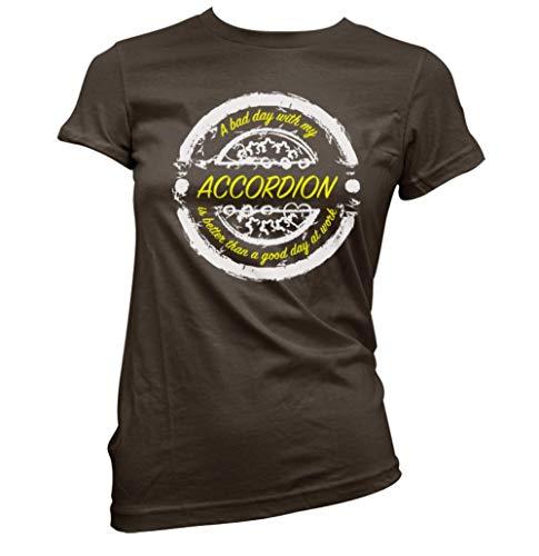 Bad Day mit Akkordeon Besser als Works Damen T-Shirt (Auswahl Farbe und Größe) - Dunkle Schokolade, XXL(Size 16)