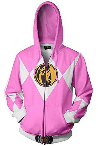 Morphin Power Rangers Power Rangers Pink Ranger Zip Up Kapuzenpullover Reißverschluss Sweatshirt Pullover Hoodie 3D Unisex M ()