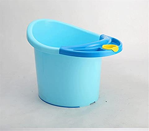 SHISHANG Children's oversized vertical bath tub + bath stool bath tub baby bucket can be a bucket of plastic bath bucket suitable for 0-12 years old thickening design environmental health size 63 * 56 * 54