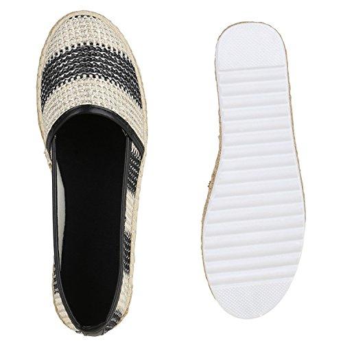 Damen Espadrilles | Bast Slipper | Glitzer Sommerschuhe | Metallic Flats Pailetten | Stoff Schuhe Plateau Schwarz Streifen