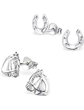 2 Paar Kinder Ohrstecker Pferde und Hufeisen Ohrringe 925 Silber