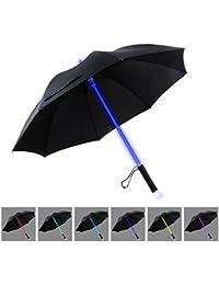 LED Regenschirm Sturmfest |YIER Stockschirm Groß | Lichtschwert | Farbwechseln- 7 Farben | Partnerschirm | Schwarz 80cm