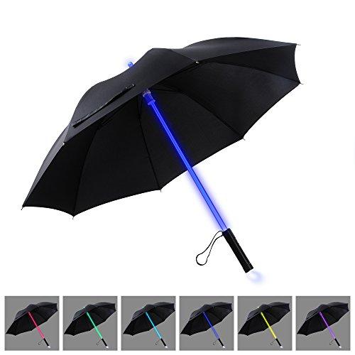 LED Regenschirm Sturmfest YIER Stockschirm Groß Lichtschwert Farbwechseln- 7 Farben Partnerschirm Schwarz 80cm.