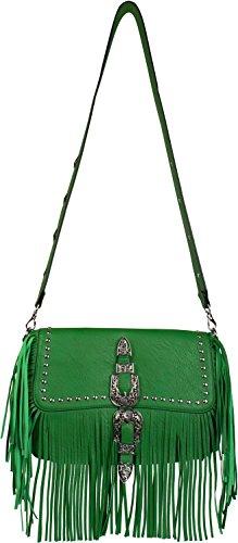styleBREAKER Besace avec franges et clous, boucle décorative avec motif ornemental à fleurs et à feuilles, sac en bandoulière, sac à main, femmes 02012228, couleur:Vert