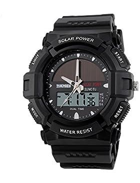 Outdoor Sport Uhren SKMEI Marke Solar Power 2Zeitzone Digital Quarz Armbanduhr Wasserdicht LED Herren wristwatches-black