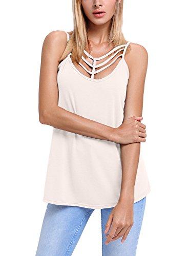 Aleumdr Damen Tank Top Sexy tief U-Ausschnitt mit Vorne Schnürung ärmellosen Bluse Shirt Top T-Shirt Pink XX-Large (T-shirt Size Tank Plus Top)