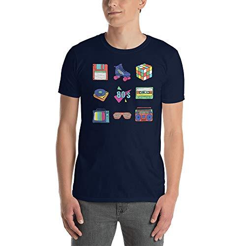 Unisex T-Shirt 80er Jahre Eighties Retro Vintage Gr. L, Navy