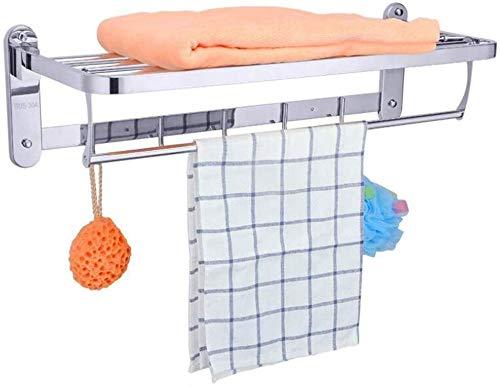 YAMMY Bad Handtuchwärmer 23 Zoll Badezimmer Regal Faltbare Wand Befestigter Doppel-Handtuchhalter Mit Handtuchhalter Poliert 304 Edelstahl Handtuch Regal Für Hotel-Küche -