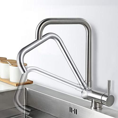 AiHom 360° drehbar Vorfenster Armatur Küchenarmatur Umklappbar Wasserhahn aus Edelstahl Spültischarmatur für Küche, Matt (Vertikale Zeichen Zu öffnen)