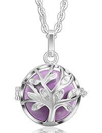Bola colgante del árbol de la vida de armonía Eudora relicarios de plata de ley y collar de cadena de joyería
