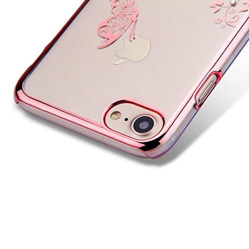 iPhone 7 Custodia Rigida,iPhone 7 Cover Trasparente con Disegno,Felfy iPhone 7 4.7 pollice Custodia Cover Case Bumper Caso Trasparente Luxury Belle Rose Gold Farfalla Brillantini Glitter Bling Strass  C15