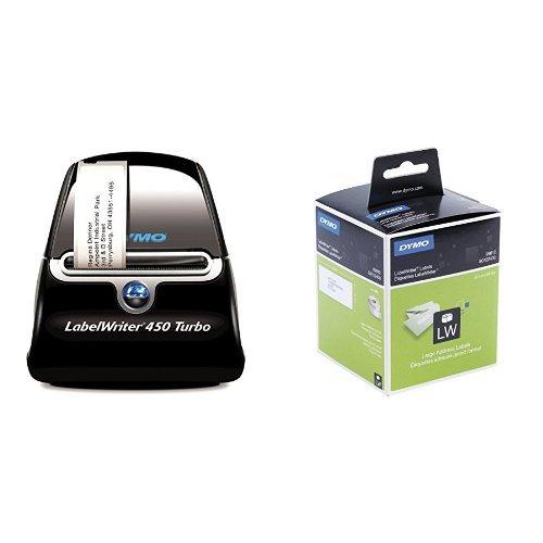 Dymo LabelWriter 450 Turbo Etikettendrucker + 4 Rollen (mit 260 Adressetiketten, 36 x 89 mm, schwarzer Druck auf weiß) -