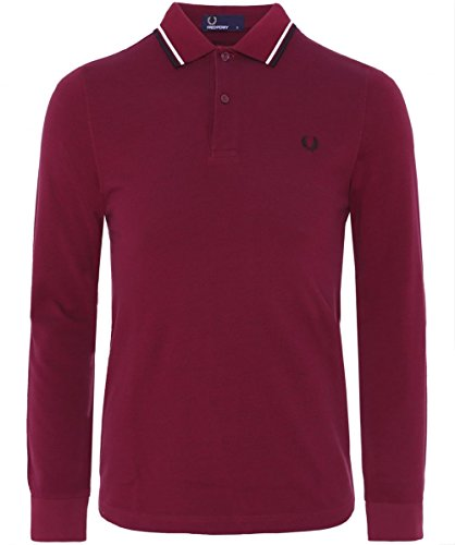 Fred Perry Herren Long Sleeved Twin Tipped Polo Shirt Rot Rot