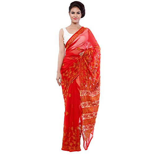 Bds Chikan Faux Georgette Saree (Bds00054_Red And Yellow)