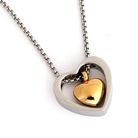 Zahara Urne funéraire (20 cm) avec pochette en velours & Entonnoir/Double chaîne avec pendentif en forme de cœur