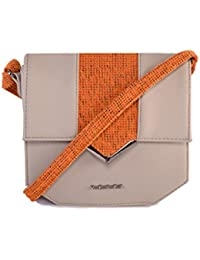 Veuza Berlin Premium Jacquard And Faux Leather Light Grey Sling Bag