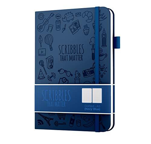 Scribbles That Matter - Gepunktetes Tagebuch A5 Gepunktetes Notizbuch mit Innentasche - Füllfederhalter-freundliches Papier - kultige Version - Marineblau