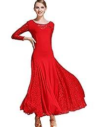 WQWLF Vestidos Práctica de la Danza de Salón de Baile para Mujeres Encaje  Vals Traje de da000b29abf1