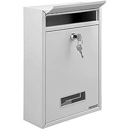 Briefkasten Weiß | inkl. 2 Schlüssel | Namensschild | abschließbar | witterungsfest | Mailbox Briefkastenanlage Postkasten Stahl