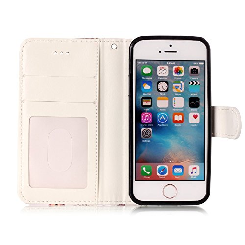 Coque Etui pour iPhone SE/5S/5,iPhone 5S Coque Portefeuille PU Cuir Etui,iPhone 5S Coque de Protection en Cuir Folio Housse, iPhone 5S Leather Case Wallet Flip Protective Cover Protector, Ukayfe Etui  Tigre bleu