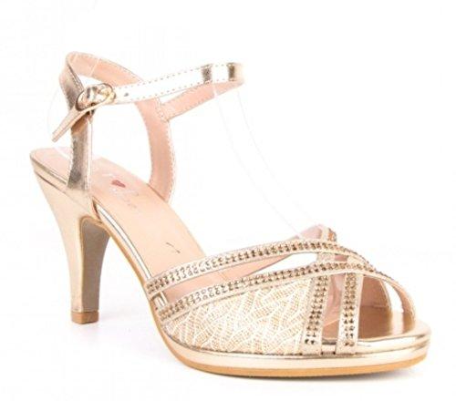Elegante Damen Hochzeit Riemchen Abend Sandaletten Pumps Kleiner Absatz Stilettos 588 (36, Gold)
