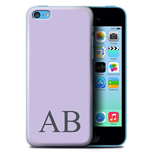 Personalisiert Pastell Monogramm Hülle für Apple iPhone 5C / Gelbes Design / Initiale/Name/Text Schutzhülle/Case/Etui Lila