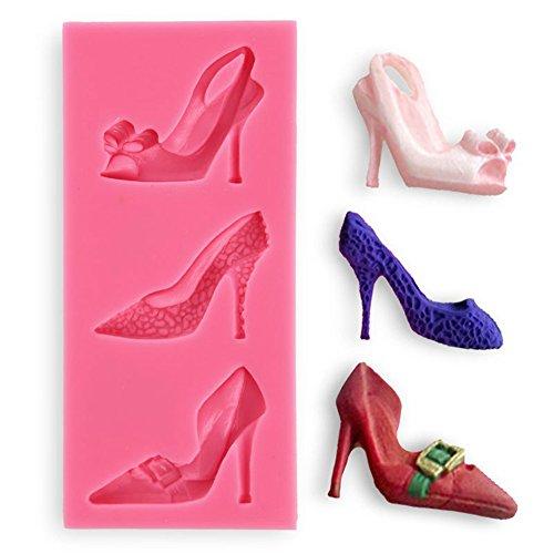Lumanuby 1x Kreative DIY High Heel Schuhe Fondant Deko Silikon Fondant formen von 3-Schuhe Kuchen Dekorieren Oder Schokoladen Schimmel 13.1*6.1*1.0cm Zufällige Farbe, Silikon Formen Serie - 3 Heel-schuhe