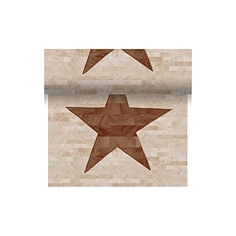 Duni Dunicel Tête á Tête Tischläufer Wood Star 0,4 m x 24 m, Tischläufer Wood Star, Tischdeko Weihnachten braun, Tischdeko Weihnachtsfeier braun, Tischläufer Weihnachten braun, Tischdekoration (Weihnachtsfeier Tischdekoration)