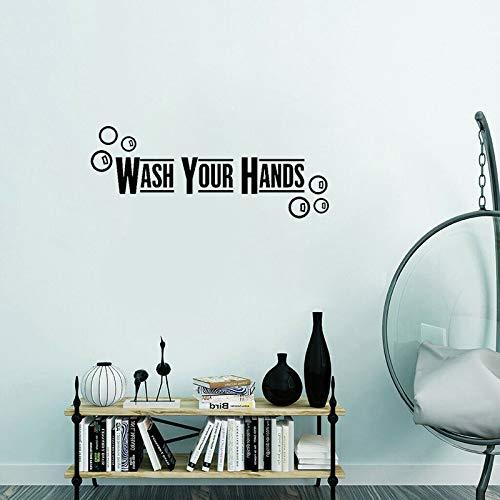 yiyiyaya Waschen Sie Ihre Hände Art Decor für Badezimmer PVC Wandaufkleber 56 * 22cm